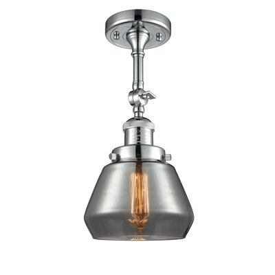 Dupree 1-Light Semi Flush Mount Fixture Finish: Polished Chrome, Shade Color: Smoked