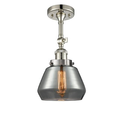 Dupree 1-Light Semi Flush Mount Fixture Finish: Polished Nickel, Shade Color: Smoked