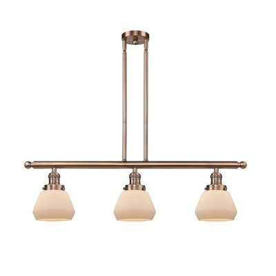 Dupree 3-Light Kitchen Island Pendant Finish: Antique Copper, Shade Color: Matte White Cased