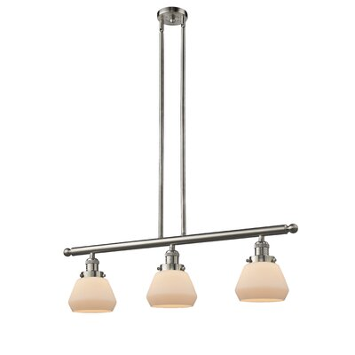 Dupree 3-Light Kitchen Island Pendant Finish: Brushed Satin Nickel, Shade Color: Matte White Cased