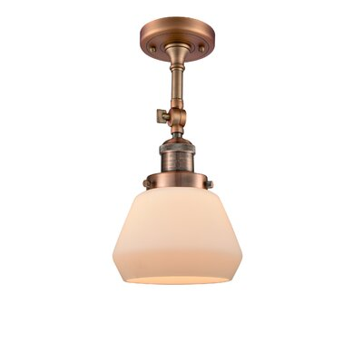 Dupree 1-Light Semi Flush Mount Fixture Finish: Antique Copper, Shade Color: Matte White Cased