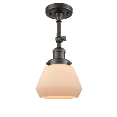 Dupree 1-Light Semi Flush Mount Fixture Finish: Oiled Rubbed Bronze, Shade Color: Matte White Cased