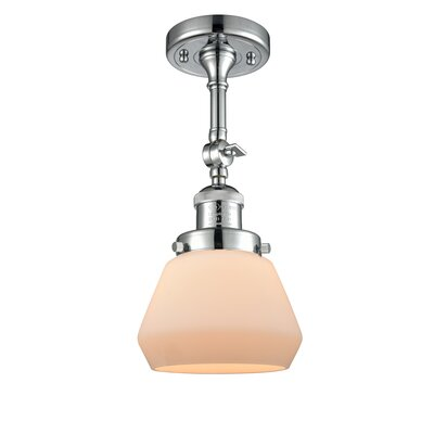 Dupree 1-Light Semi Flush Mount Fixture Finish: Polished Chrome, Shade Color: Matte White Cased