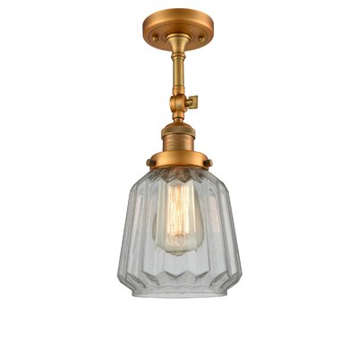 Vinson 1-Light Semi Flush Mount Fixture Finish: Brushed Brass