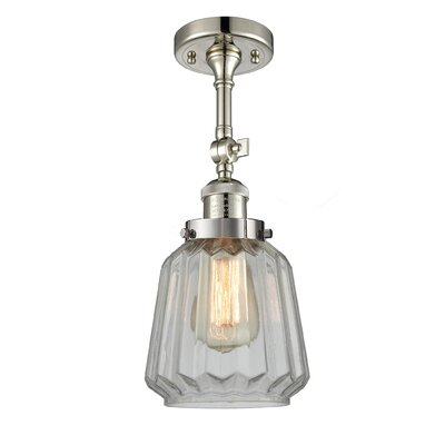 Vinson 1-Light Semi Flush Mount Fixture Finish: Polished Nickel