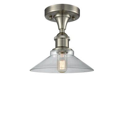 Naya 1-Light Semi Flush Mount Fixture Finish: Brushed Satin Nickel