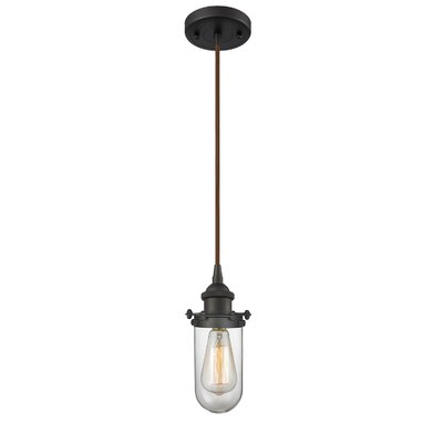 Narvaez 1-Light Mini Pendant Color: Oil Rubbed Bronze, Shade Color: Matte White Cased, Size: 130 H x 6 W x 6 D