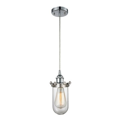 Scarlette 1-Light Mini Pendant Finish: Polished Chrome, Shade Color: Clear, Size: 40 H x 6 W x 6 D