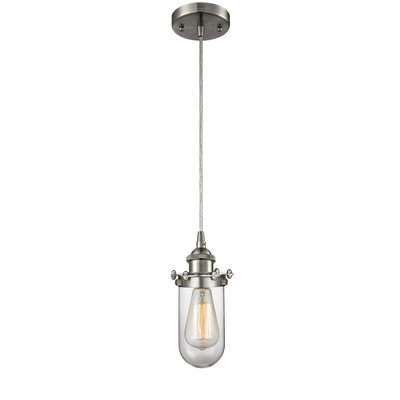Narvaez 1-Light Mini Pendant Color: Brushed Satin Nickel, Shade Color: Matte White Cased, Size: 40 H x 6 W x 6 D