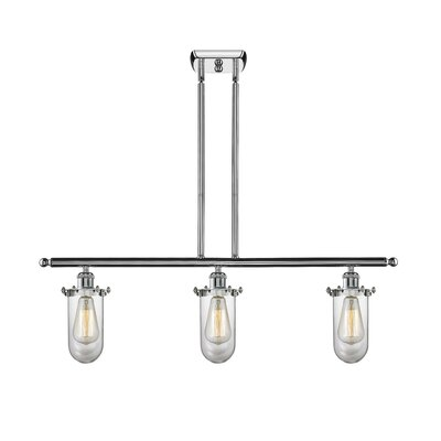 Narvaez 3-Light Kitchen Island Pendant Color: Polished Chrome, Shade Color: Clear