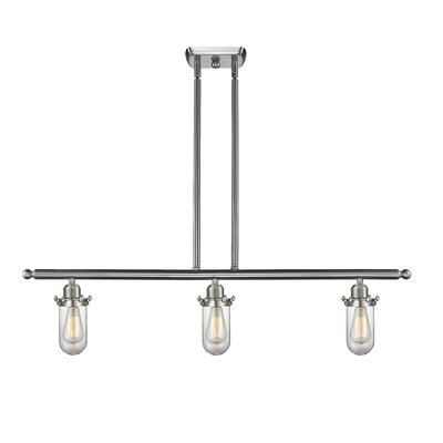 Narvaez 3-Light Kitchen Island Pendant Color: Brushed Satin Nickel, Shade Color: Clear