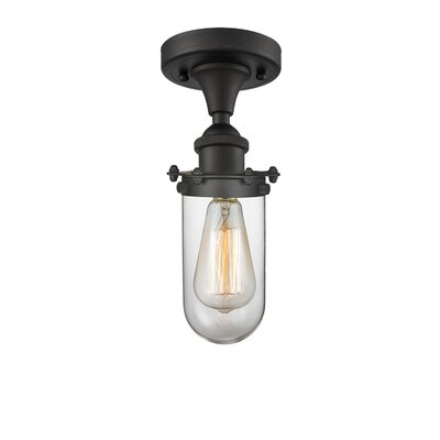Narvaez 1-Light Semi Flush Mount Fixture Color: Oil Rubbed Bronze, Shade Color: Clear