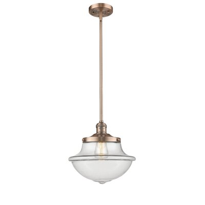 Deserie 1-Light Schoolhouse Pendant Finish: Antique Copper, Shade Color: Clear