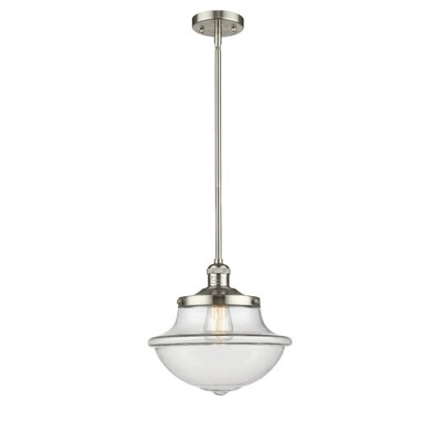 Deserie 1-Light Schoolhouse Pendant Finish: Polished Nickel, Shade Color: Clear