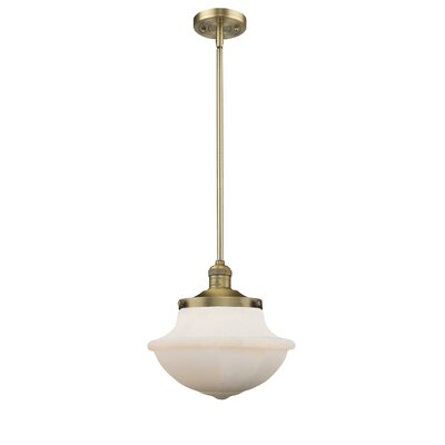 Deserie 1-Light Schoolhouse Pendant Finish: Brushed Brass, Shade Color: White