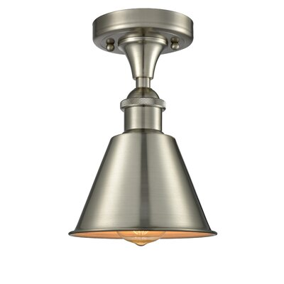 Harlan 1-Light Semi Flush Mount Fixture Finish: Brushed Satin Nickel