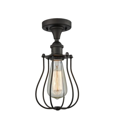 Scarlette 1-Light Semi Flush Mount Fixture Finish: Oiled Rubbed Bronze