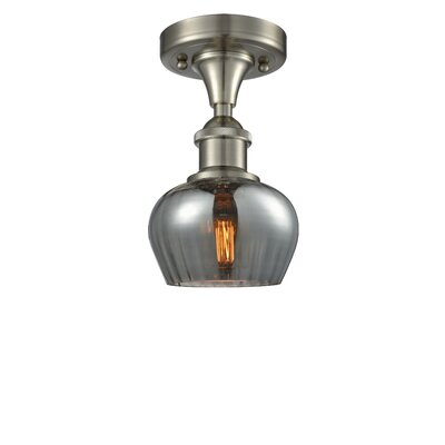 Dooling 1-Light Semi Flush Mount Fixture Finish: Brushed Satin Nickel