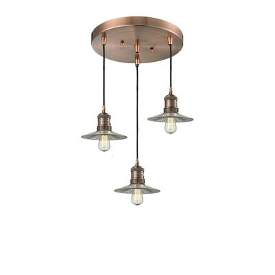Rivka 3-Light Cluster Pendant Finish: Black/Brushed Brass