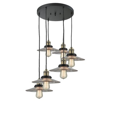 Evalyn 6-Light Cluster Pendant Finish: Black Brushed Brass