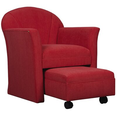 Arm Chair with Ottoman Color: Pumpkin, Color: Medium Lanty Oak