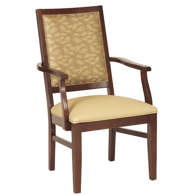 Arm Chair Upholstery: Chocolate, Finish: Montana Walnut