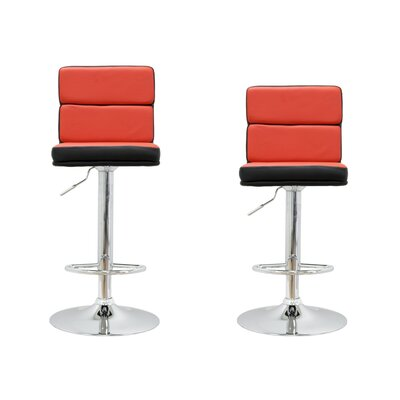Adjustable Height Swivel Bar Stool Upholstery: Red / Black