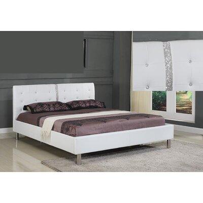 Platform Bed Size: Full, Upholstery: White