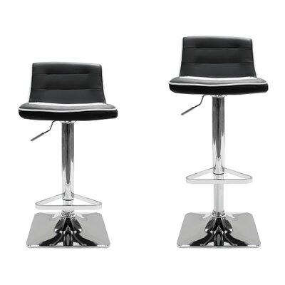 Adjustable Height Swivel Bar Stool Upholstery: Black / White