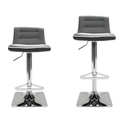 Adjustable Height Swivel Bar Stool Upholstery: Gray / White