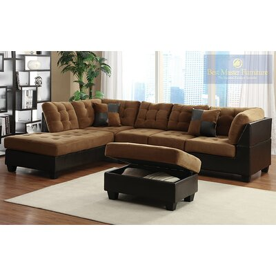 Sectional Upholstery: Caramel, Orientation: Left Hand Facing