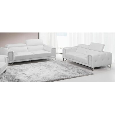 BestMasterFurniture 9147 White 2 Pcs Sofa and Loveseat Set Upholstery