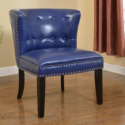 Faux Leather Living Room Slipper Chair Upholstery Color: Navy Blue