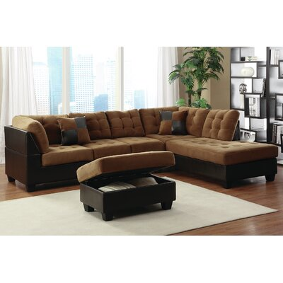 Sectional Upholstery: Caramel, Orientation: Right Hand Facing
