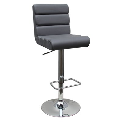 Adjustable Height Swivel Bar Stool Upholstery: Gray