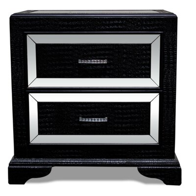 2 Drawer Nightstand Finish: Black