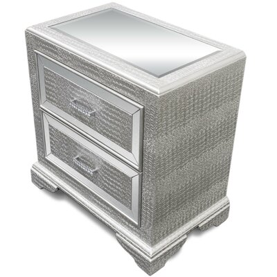 2 Drawer Nightstand Color: Silver