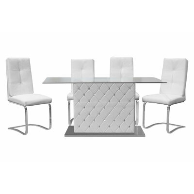 Ericka 5 Piece Dining Set Upholstery: White