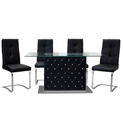 Ericka 5 Piece Dining Set Upholstery: Black