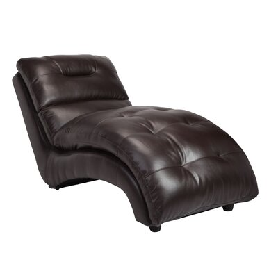 Leather Chaise Lounge Color: Brown