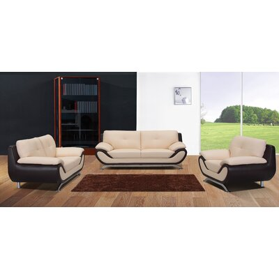 BestMasterFurniture YK09 Seashell/ Black 3 Pcs 3 Piece Living Room Set