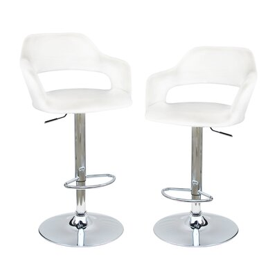 Adjustable Height Swivel Bar Stool Upholstery White