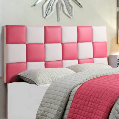 Upholstered Panel Headboard Size: Twin, Upholstery: Pink/ White