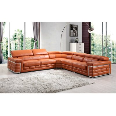 Leather Sectional Upholstery: Orange