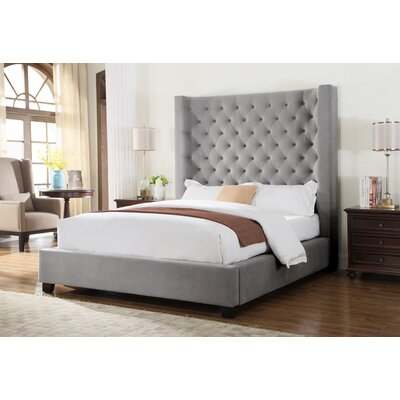 Upholstered Panel Bed Size: Queen, Color: Grey