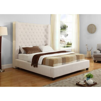 Upholstered Panel Bed Size: Queen, Color: Cream