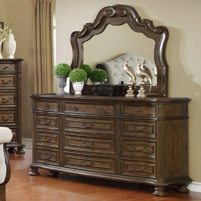 Belle 12 Drawer Dresser and Mirror