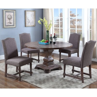 5 Piece Round Dining Set Upholstery Color: Otter