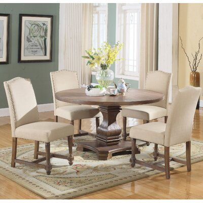 5 Piece Round Dining Set Upholstery Color: Tan