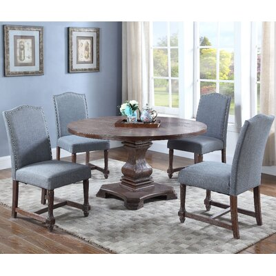 5 Piece Round Dining Set Upholstery Color: Eton Blue